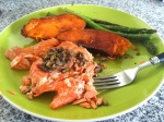 Grilled salmon, sweet potatoes, & asparagus