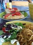 Spaghetti w/ olive & feta salad