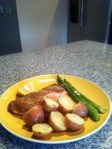 Grilled wild salmon, potatoes & asparagus w/ lemon butter
